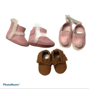 3 PAIR BABY GIRL SHOES/ BOOTS